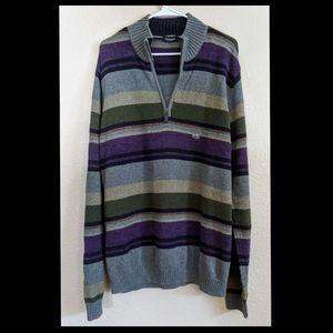 NWT Van Heusen's Gray Striped Sweater Sz L